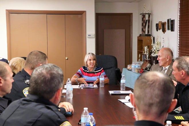 Gov. Michelle Lujan Grisham visited the Alamogordo Police Department Thursday, July 18.  Alamogordo Mayor Richard Boss was also in attendance.