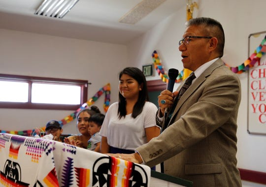 Navajo Nation Vice President Myron Lizer, right, delivers comments to members of Gadii'ahi-To'koi Chapter at a luncheon for the elderly and veterans on July 18 at the Gadii'ahi-To'koi Chapter house.