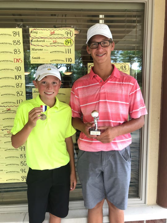 Keldon Koshorek of White Lake (right) won the boys' 12-14-year-old age division, shooting 84. Keller King (left) of Howell shot 94 to capture runner-up honors.