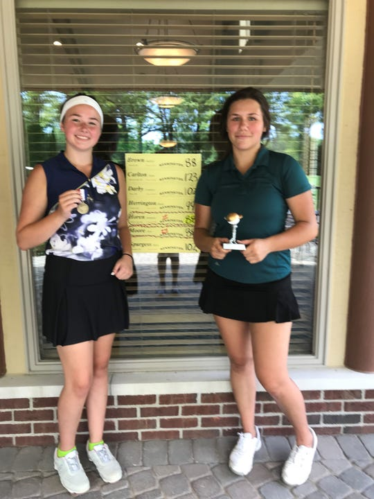 Ava Moore (left), Summer Horen (right) and Audrey Brown (not pictured) all shot 88 to tie for first place at Dunham Hills.