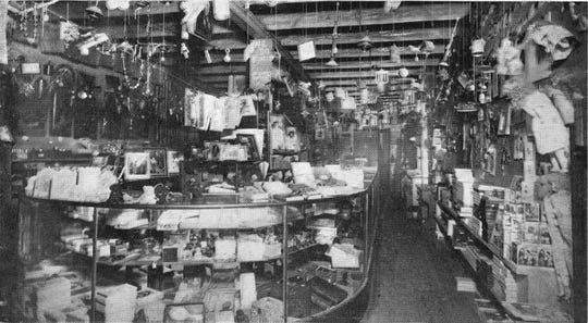 Inside the Toy Emporium at Jacobs News Depot on Landry Street in downtown Opelousas in the early 1900s. (From Carola Hartley photo collection.)