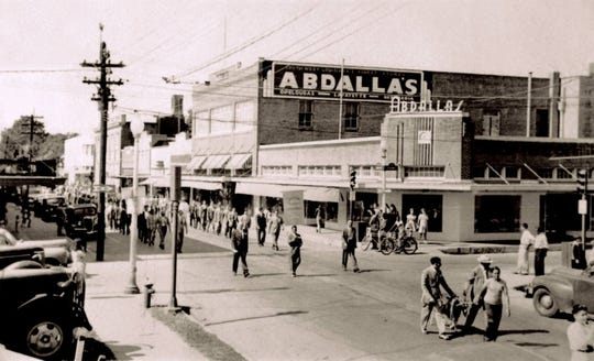 1946 parade on Main Street showing Abdalla's.