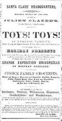 In December of 1878, the Opelousas Courier newspaper ran this ad for toys at Julien Claude's store in the old Varieties Theater building on Main Street.