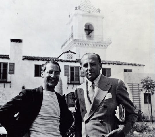 Groucho Marx sans his usual moustache, eyebrows and glasses, with Hary Cohn, President of Columbia Pictures at the El Mirador Hotel 1931.