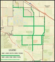 This map shows the existing bike lanes in Rancho Mirage. The city teamed with a traffic engineering consultant to develop a plan for improving bicycle and pedestrian safety.