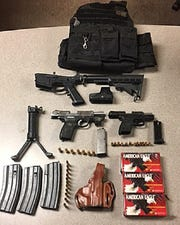 "Guns and ammunition were found at the Coachella home of Mathew ""Santos"" Regalado Juarez, who was booked into the Riverside County jail for possession of a firearm by a convicted felon, possession of ammunition by a convicted felon, felony evading, and felony warrants."