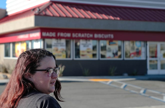 Sam Stevens, a resident of Harrison House, arrives at work at Carl's Jr. in Thousand Palms, Calif., on Friday, July 19, 2019.