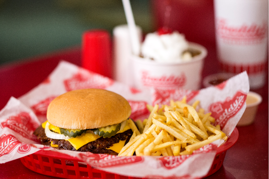 A burger and fries from Freddy's Frozen Custard and Steakburgers. A new Freddy's location will open in the Scottsdale 101 Shopping Center.
