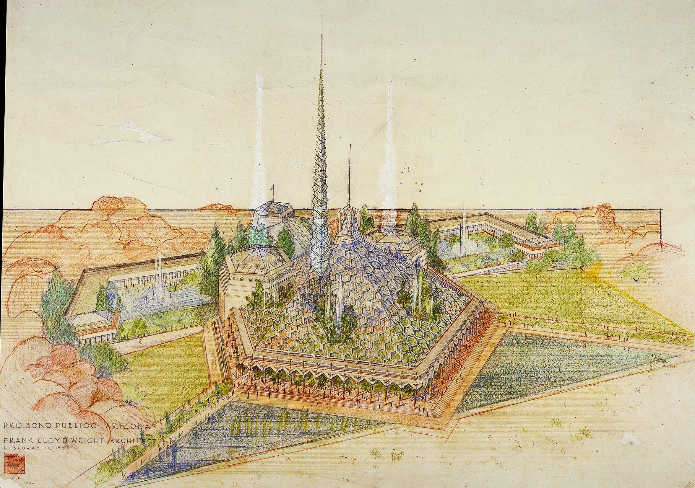 "Architect Frank Lloyd Wright's plans for a new state capitol included a glass roof and spires. Although the state did not use his plans for ""The Oasis,"" his renderings kicked off a six-month long debate in 1957."
