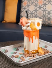 ZuZu: The June Showstopper Shake-of-the-month, Peaches and Cream, at Zuzu at the Hotel Valley Ho.
