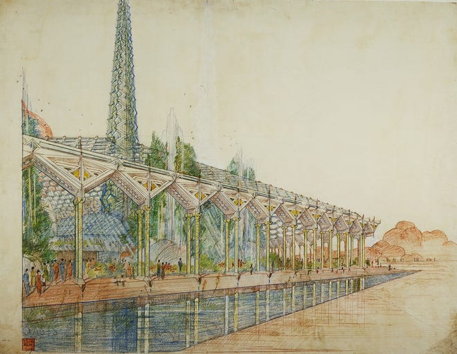 """Architect Frank Lloyd Wright's plans for a new state capitol included a glass roof and spires. Although the state did not use his plans for """"The Oasis,"""" his renderings kicked off a six-month long debate in 1957."""