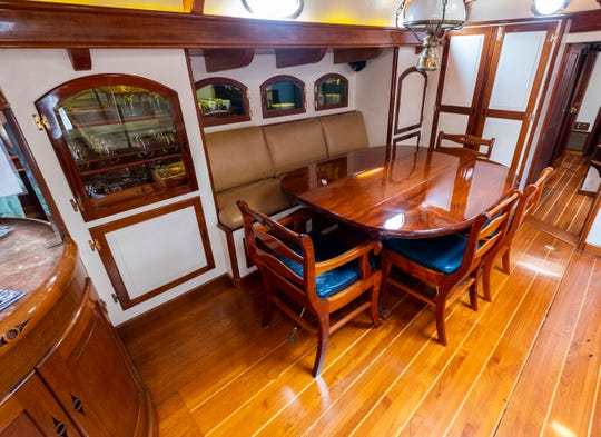The Whitehawk has a dining room below deck for the ship's crew.