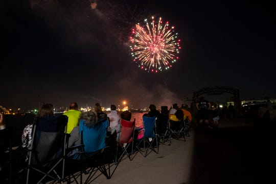 Fireworks explode over Vantage Point Thursday, July 18, 2019, at the end of Family Night during Blue Water Fest.
