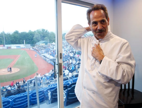 "Larry Thomas dresses for his role as Seinfeld's ""The Soup Nazi"" before Thursday's game at Dutchess Stadium in Fishkill on July 18, 2019."