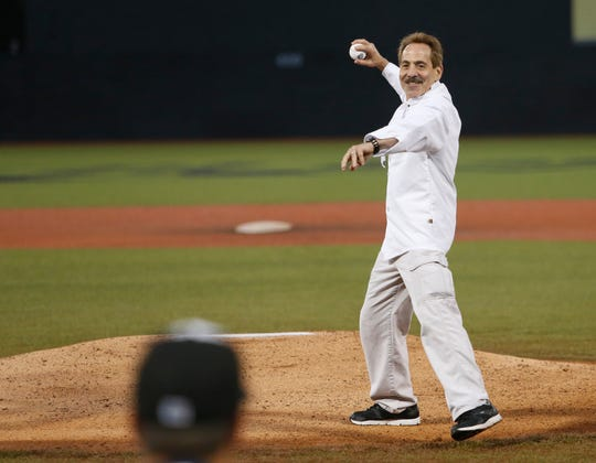 "Larry Thomas reprising his role as Seinfeld's ""The Soup Nazi"" throws out a ceremonial first pitch before Thursday's game at Dutchess Stadium in Fishkill on July 18, 2019."