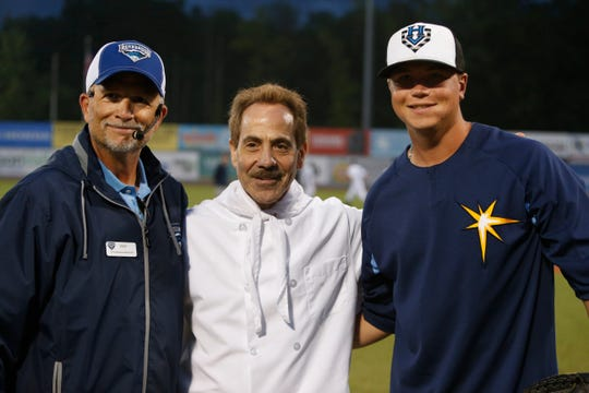 "From left, Renegades vice president Rick Zolzer,Larry Thomas reprising his role as Seinfeld's ""The Soup Nazi"" and Renegades pitcher Zach Trageton before Thursday's game at Dutchess Stadium in Fishkill on July 18, 2019."
