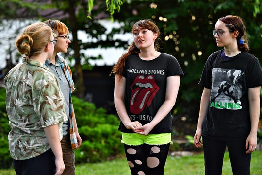From left, Theseus (Meredith Singleton), Demetrius (Paige Gross), Hermia (Michaela Wagner) and Lysander (Abbey Hardman) as Upstart Arts rehearses A Midsummer Night's Dream in West Manchester Township, Thursday, July 18, 2019. The outdoor performances will be at area parks July 19-28, with the first at Gifford Pinchot State Park. Dawn J. Sagert photo