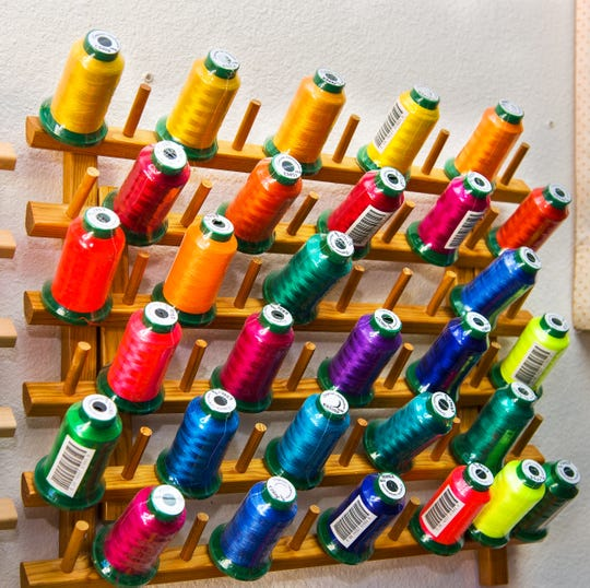 Colorful spools of thread are displayed at SylviaÕs QuilterÕs Quarters, LLC.
