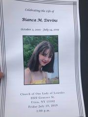 Funeral program of Bianca Devins, July 19, 2019.