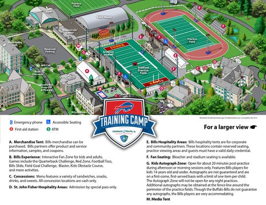 A map of Buffalo Bills training camp at St. John Fisher College