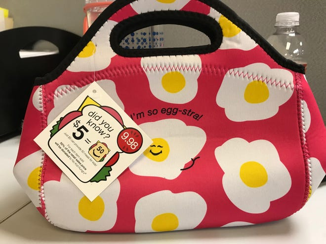 Throughout July, people can help feed children by buying food-themed lunch totes, water bottles and drawstring packs from Bealls at the Sunset Mall, 4001 Sunset Drive.