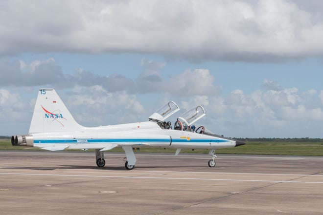 A NASA T-38 training jet prepares for flight at Ellington Field Joint Reserve Base in Houston. NASA pilots routinely make stops at San Angelo's airport to refuel.