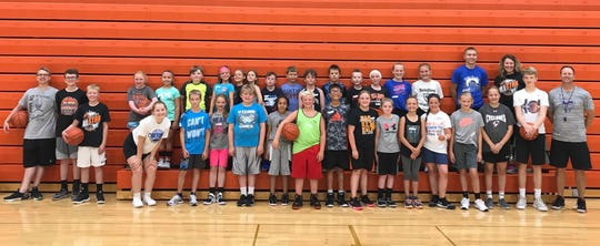 Partipants from grades 4-6 at the Dell Rapids All-Star Basketball Camp.