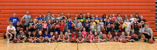 Participants in grades K - 3 at the  Dell Rapids All-Star basketball camp.