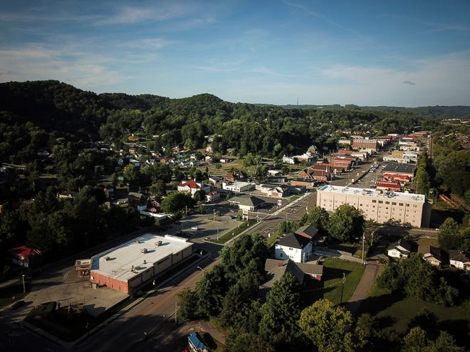An aerial view of downtown Norton, Va., with the local CVS in the lower left.