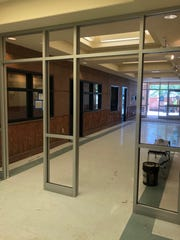 The framework for the security doors soon to be installed at Coral Cliffs Elementary School in St. George.