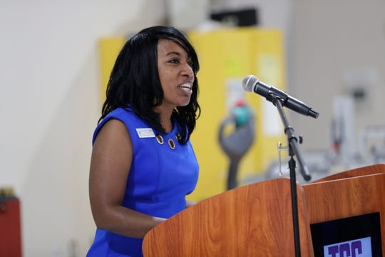 Kimberly Moore, vice president for workforce innovation at Tallahassee Community College, speaks at an event held to announce TCC's newest workforce training program at the Kim Williams Advanced Manufacturing Training Center Friday, July 19, 2019.