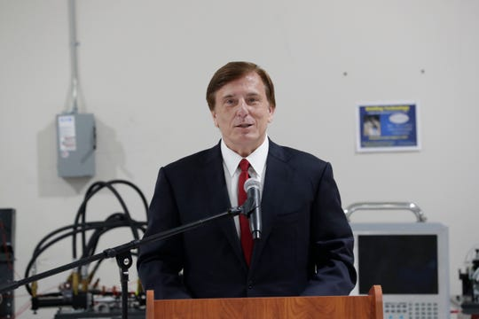 Dr. John Fleming, U.S. Assistant Secretary of Commerce for Economic Development, speaks at an event held to announce TCC's newest workforce training program at the Kim Williams Advanced Manufacturing Training Center Friday, July 19, 2019.