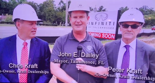 A screen shot from Kraft Infiniti commercial featuring Tallahassee Mayor John Dailey, center left. Dailey said he never gave permission for his likeness to be used in the ad.