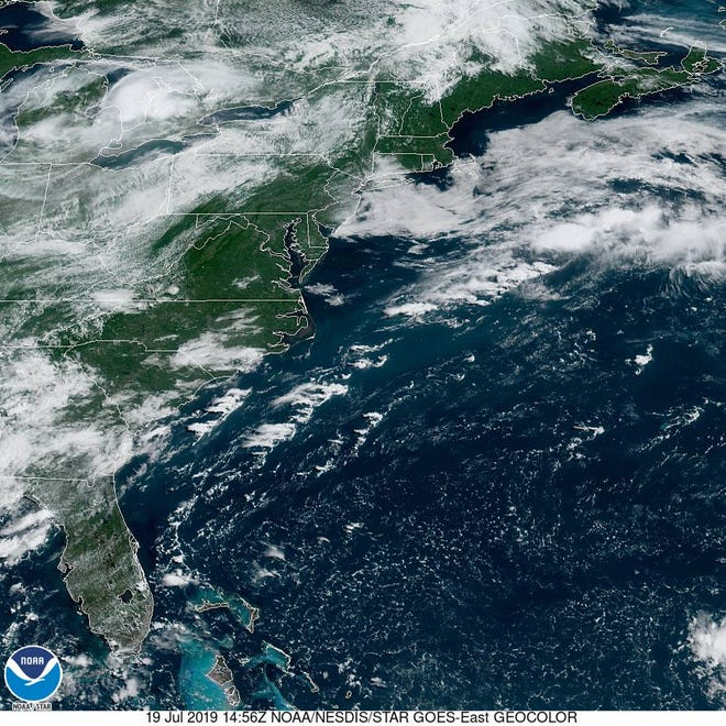 Satellite imagery the US East Coast from July 19.