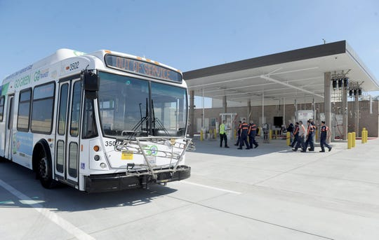 A group of service workers from the Gold Coast Transit District take a tour of the district's new headquarters at 1901 Auto Center Drive in Oxnard.