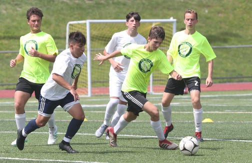 Soccer players from throughout the area work on their skills during a scrimmage at the Hudson Valley College ID Soccer Camp at Lakeland High School in Shrub Oak July 19, 2019.