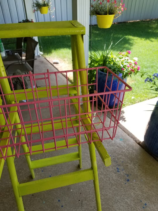 Step 4 (optional): Consider adding a metal basket on the ladder, securing it with simple zip ties.
