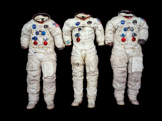"The three spacesuits worn by the Apollo 11 astronauts on their historic mission to the moon. From left, are the suits of Edwin ""Buzz"" Aldrin, Michael Collins and Neil Armstrong together in the Emil Buehler Conservation Lab at Steven F. Udvar-Hazy Center in Chantilly, Va., June 28, 2018."