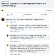 "New Hampshire state Rep. Werner Horn remarked on Facebook July 16, 2019 that ""owning slaves doesn't make you racist."""