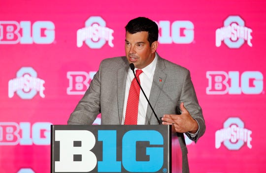 Ohio State coach Ryan Day speaks during the Big Ten Football Media Days event in Chicago.