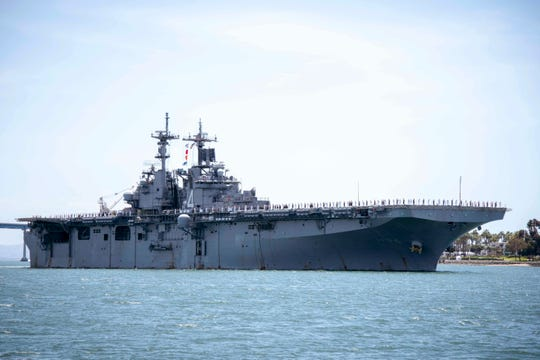 The amphibious assault ship USS Boxer is seen in San Diego Bay in San Diego, Calif., on May 1, 2019.