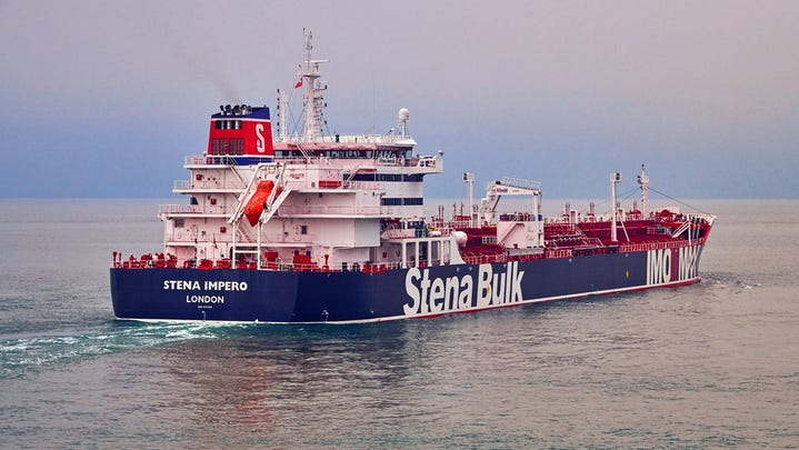 """An undated handout photo shows British registered oil tanker """"Stena Impero"""" at sea."""