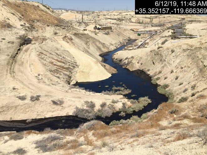 Oil from massive leak in Cymric field in Kern County, CA flows down creek bed. June 2019