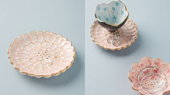 These floral dishes are the cutest way to store your jewelry and knick knacks.