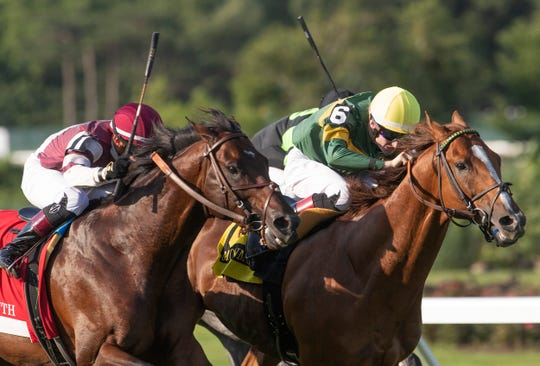 Just Howard ridden by Trefor McCarthy wins The Oceanport Stakes at Haskell Day races at Monmouth Park Racetrack in Oceanport, NJ on July 20, 2019.