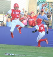 Abilene Dixie's Braden Warren (15) celebrates after Brady Henderson's walkoff hit capped a three-run seventh inning and lifted Dixie to a 13-12 win over Corpus Christi National in Little League Division opener of the Texas West State Little League baseball tournament Friday at Kirby Park.