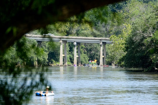 Participants of Riverlink's Anything That Floats Parade placed their entries into the French Broad River at Hominy Creek Park July 20, 2019. The 25 floats were judged by most creative, funniest, most eco-friendly and cutest.