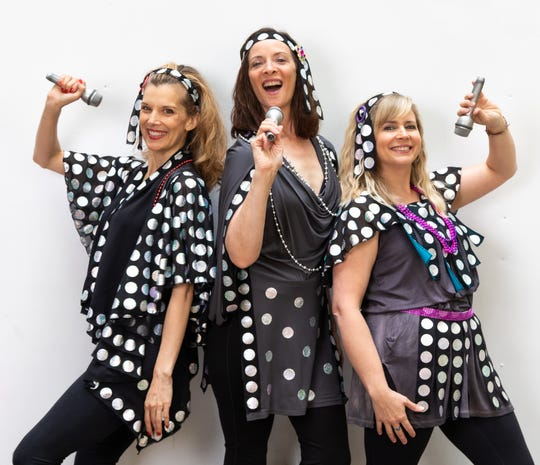 Donna and the Dynamos (from left, Molly Hall as Tanya, Jenny Dreessen as Donna and Beaven Walters as Rosie) reunite, and sing lots of ABBA songs