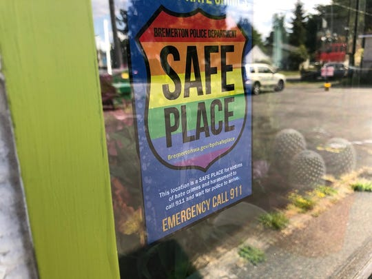"Businesses can display a ""safe place"" decal to indicate that they will call 911 and provide a place of refuge for someone who is the victim of a hate crime."