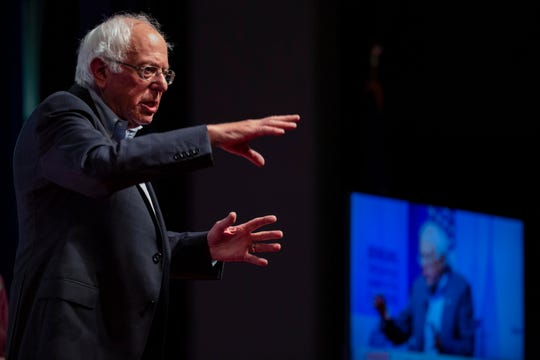 U.S. Sen. Bernie Sanders speaks at the AARP Presidential Forum at the Arts Center at Iowa Western in Council Bluffs, Iowa, on July 20, 2019.